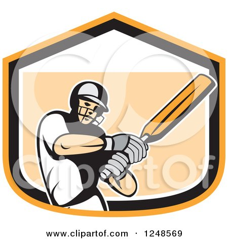 Clipart of a Retro Cricket Player Man Batting in a Shield - Royalty Free Vector Illustration by patrimonio
