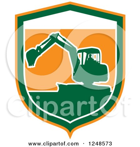 Clipart of a Green Silhouetted Excavator Machine in a Shield - Royalty Free Vector Illustration by patrimonio