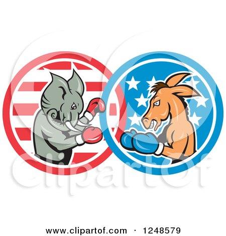 Cartoon Republican Elephant and Democratic Donkey Boxing Posters, Art Prints