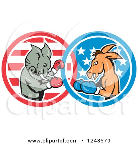 Clipart of a Cartoon Republican Elephant and Democratic Donkey Boxing - Royalty Free Vector Illustration by patrimonio