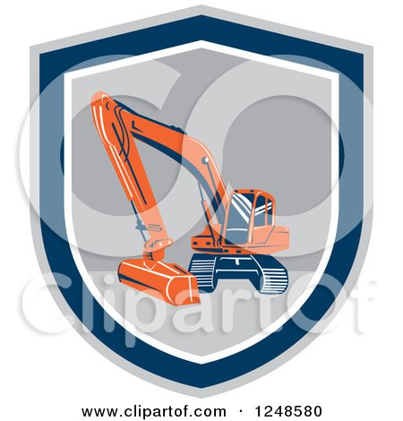 Clipart of an Excavator Machine in a Shield - Royalty Free Vector Illustration by patrimonio