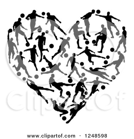 Clipart of a Heart Formed of Silhouetted Soccer Players - Royalty Free Vector Illustration by AtStockIllustration