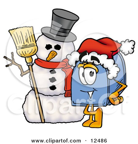 Clipart Picture of a Blue Postal Mailbox Cartoon Character With a Snowman on Christmas by Toons4Biz