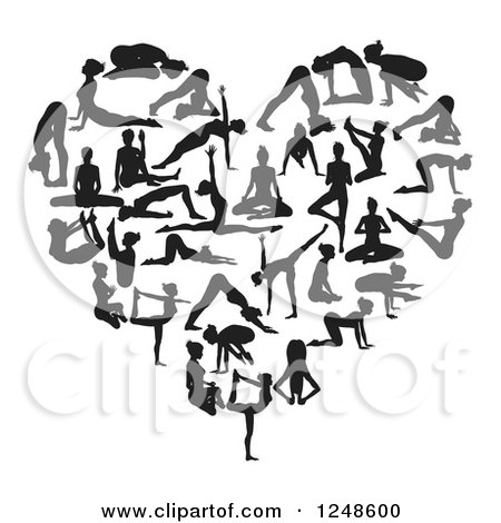 Black and white heart made of silhouetted yoga and pilates people posters art prints