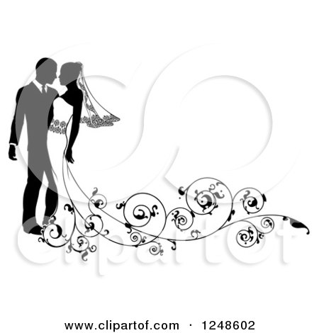 Clipart of a Black and White Silhouetted Wedding Couple with a Swirl Train - Royalty Free Vector Illustration by AtStockIllustration