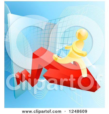 Clipart of a 3d Gold Man Running on an Arrow over a Grid - Royalty Free Vector Illustration by AtStockIllustration