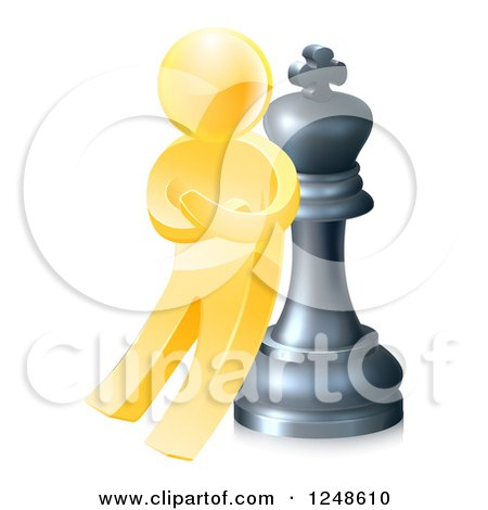 Clipart of a 3d Gold Man Leaning Against a King Chess Piece - Royalty Free Vector Illustration by AtStockIllustration