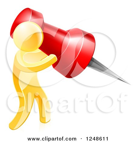 Clipart of a 3d Gold Man Using a Giant Red Pin - Royalty Free Vector Illustration by AtStockIllustration