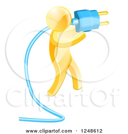 Clipart of a 3d Gold Man Plugging in a Blue Cable - Royalty Free Vector Illustration by AtStockIllustration