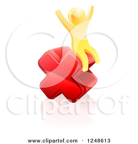 Clipart of a 3d Gold Man Sitting and Cheering on a Giant Red Cross X - Royalty Free Vector Illustration by AtStockIllustration