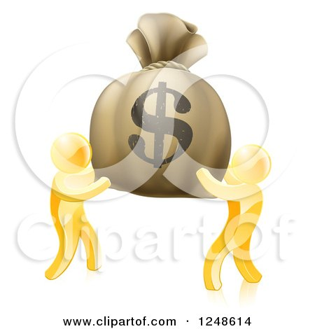 Clipart of 3d Gold Men Carrying a Giant Dollar Money Bag - Royalty Free Vector Illustration by AtStockIllustration