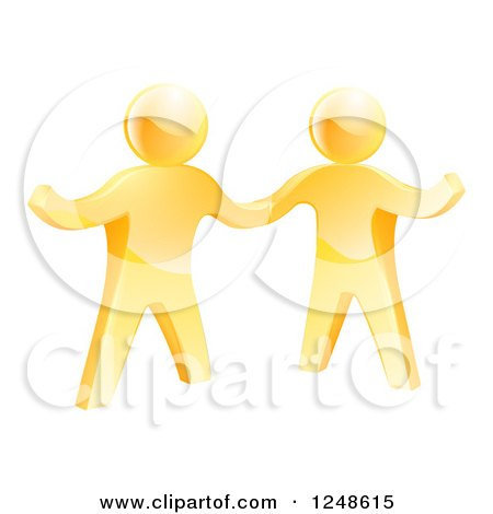 Clipart of Two 3d Gold Men Shaking Hands and One Gesturing - Royalty Free Vector Illustration by AtStockIllustration