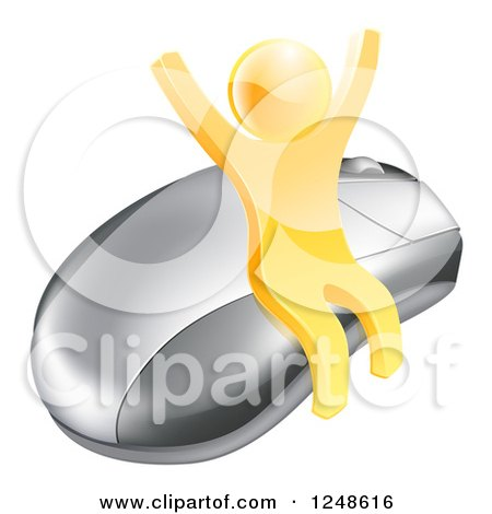 Clipart of a 3d Gold Man Cheering and Sitting on a Computer Mouse - Royalty Free Vector Illustration by AtStockIllustration