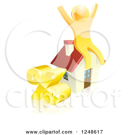 Clipart of a 3d Gold Man Cheering on a House by a Percent Symbol - Royalty Free Vector Illustration by AtStockIllustration