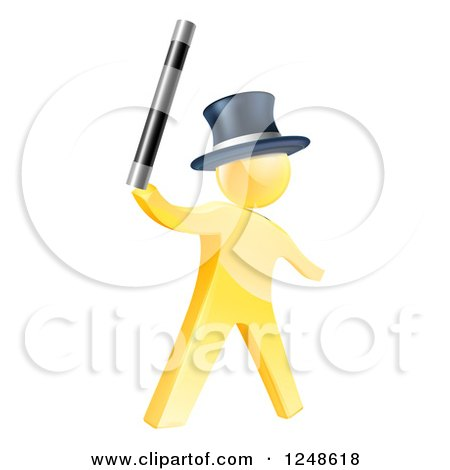 Clipart of a 3d Gold Man Magician Holding up a Wand - Royalty Free Vector Illustration by AtStockIllustration