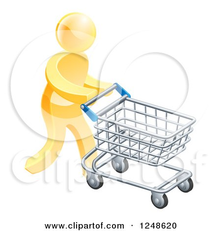 Clipart of a 3d Silver Man Pushing a Computer Mouse in a Shopping Cart - Royalty Free Vector Illustration by AtStockIllustration