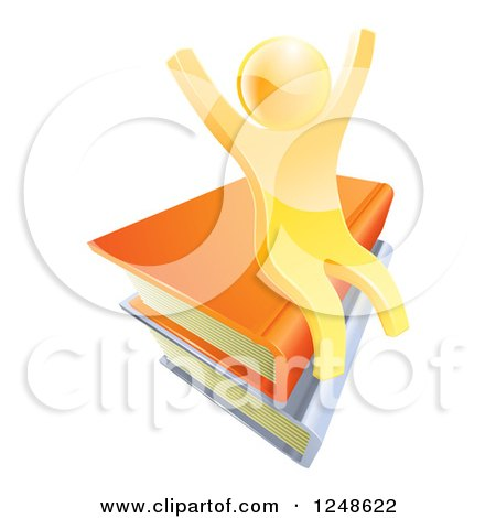 Clipart of a 3d Happy Cheering Gold Man Sitting on a Stack of Books - Royalty Free Vector Illustration by AtStockIllustration