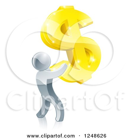 Clipart of a 3d Silver Man Holding up a Giant USD Dollar Symbol - Royalty Free Vector Illustration by AtStockIllustration