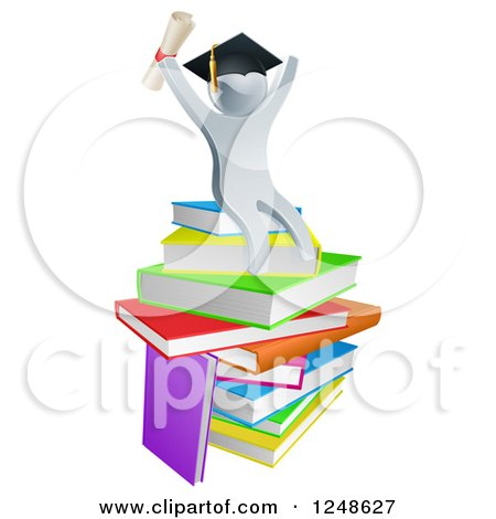 Clipart of a 3d Silver Person Graduate Cheering, Holding a Diploma and Sitting on a Stack of Books - Royalty Free Vector Illustration by AtStockIllustration