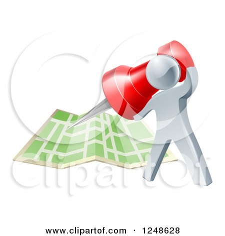 Clipart of a 3d Silver Man Pinning a Location on a Map - Royalty Free Vector Illustration by AtStockIllustration