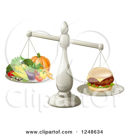 Clipart of a 3d Silver Scale Comparing a Cheeseburger to Produce - Royalty Free Vector Illustration by AtStockIllustration