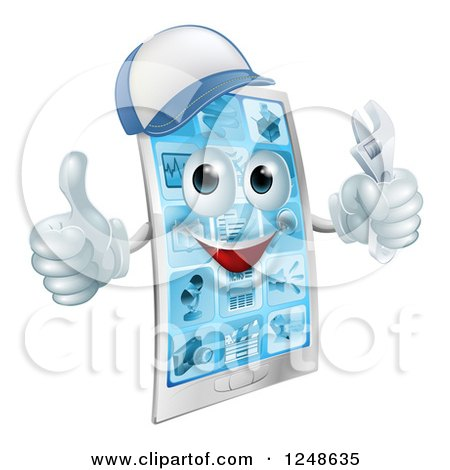 Clipart of a 3d Smart Phone Character Wearing a Hat, Holding a Thumb up and a Wrench - Royalty Free Vector Illustration by AtStockIllustration