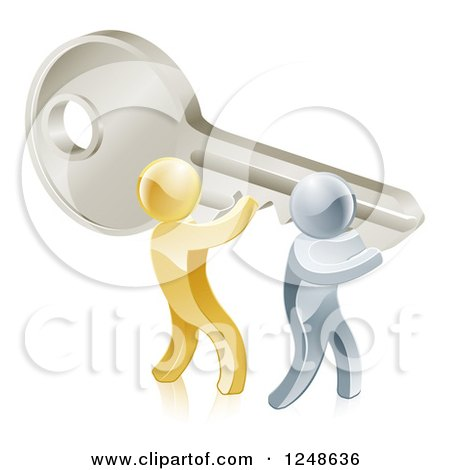 Clipart of 3d Gold and Silver Men Holding up a Giant Key - Royalty Free Vector Illustration by AtStockIllustration