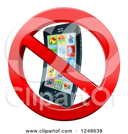 Clipart of a 3d Smart Phone in a Restricted Symbol - Royalty Free Vector Illustration by AtStockIllustration