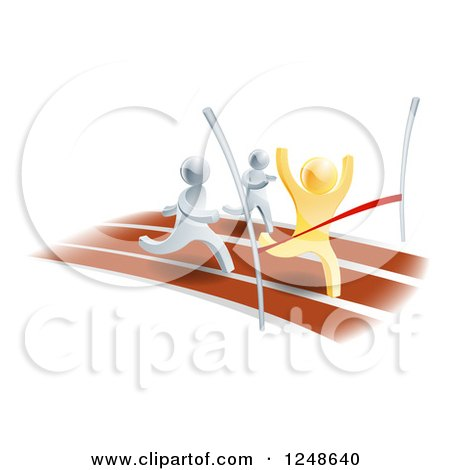 Clipart of 3d Gold and Silver Men Racing on a Track - Royalty Free Vector Illustration by AtStockIllustration