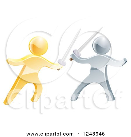 Clipart of 3d Gold and Silver Men Engaged in a Sword Fight - Royalty Free Vector Illustration by AtStockIllustration