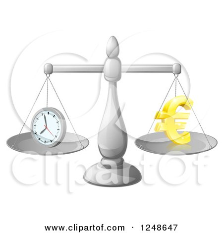 Clipart of a 3d Scales Balancing Time and Money As a Euro Symbol - Royalty Free Vector Illustration by AtStockIllustration