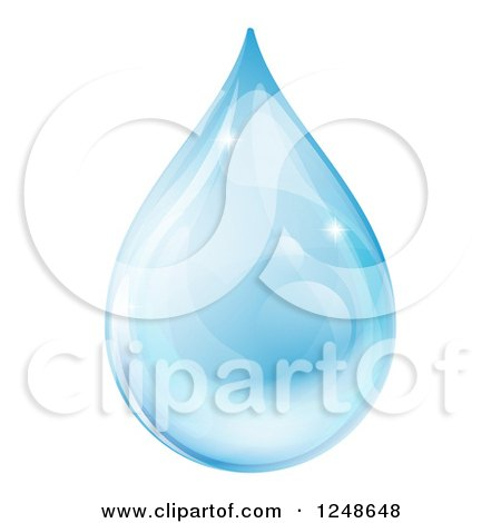 Clipart of a 3d Blue Water Drop with Reflections - Royalty Free Vector Illustration by AtStockIllustration