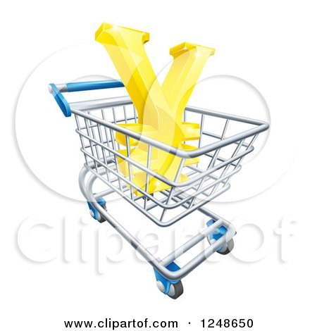 Clipart of a 3d Gold Yen with a White Outline, in a Shopping Cart - Royalty Free Vector Illustration by AtStockIllustration