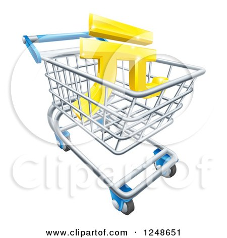 Clipart of a 3d Gold Yuan Currency Symbol in a Shopping Cart - Royalty Free Vector Illustration by AtStockIllustration