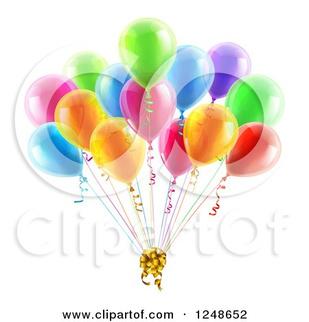 Clipart of 3d Colorful Party Balloons with a Gift Bow - Royalty Free Vector Illustration by AtStockIllustration