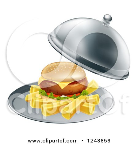 Clipart of a Cheeseburger and Fries on a Cloche Platter - Royalty Free Vector Illustration by AtStockIllustration