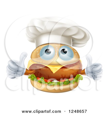 Clipart of a Cheeseburger Chef Character Holding Two Thumbs up - Royalty Free Vector Illustration by AtStockIllustration