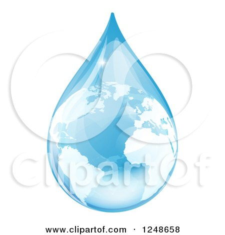 Clipart of a 3d Blue Water Drop Earth with Reflections - Royalty Free Vector Illustration by AtStockIllustration