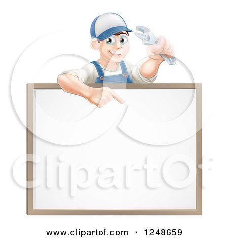 Happy Brunette Mechanic Man Holding a Spanner Wrench and Pointing over a White Board Sign Posters, Art Prints