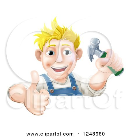 Happy Blond Carpenter Man Holding a Hammer and Thumb up over a Sign Posters, Art Prints