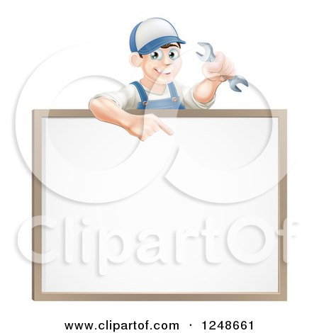 Happy Brunette Mechanic Man Holding a Wrench and Pointing over a White Board Sign Posters, Art Prints