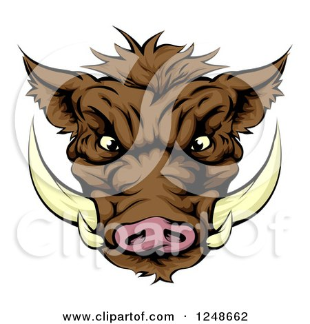 Clipart of an Aggressive Boar Mascot Face - Royalty Free Vector Illustration by AtStockIllustration