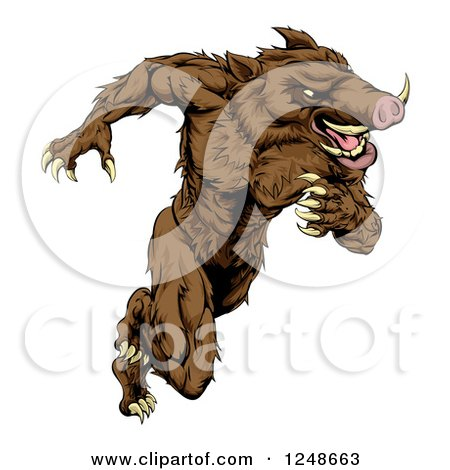 Clipart of a Muscular Aggressive Boar Mascot Running Upright - Royalty Free Vector Illustration by AtStockIllustration
