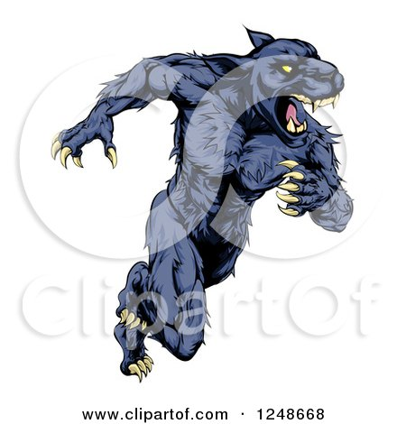 Clipart of a Muscular Panther Mascot Running Upright - Royalty Free Vector Illustration by AtStockIllustration