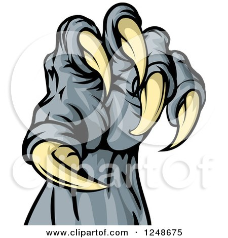 Clipart Of A Monster Claw With Sharp Talons Royalty Free Vector Illustration