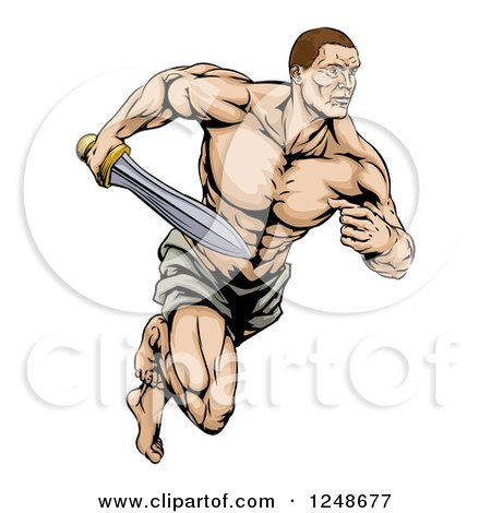 Clipart of a Muscular Gladiator Running with a Sword - Royalty Free Vector Illustration by AtStockIllustration