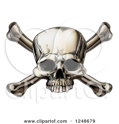 Clipart of Woodblock Skull and Crossbones - Royalty Free Vector Illustration by AtStockIllustration