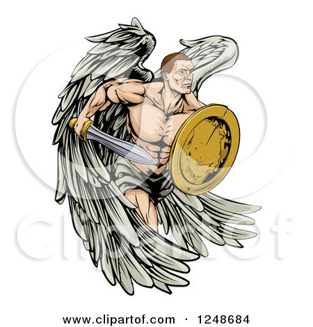 Clipart of a Muscular Warrior Angel with a Sword and Shield - Royalty Free Vector Illustration by AtStockIllustration