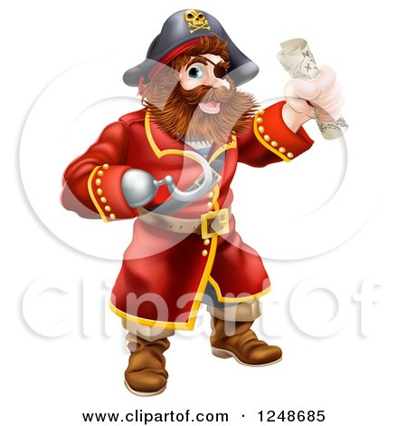 Clipart of a Pirate Captain with a Hook Hand and Treasure Map - Royalty Free Vector Illustration by AtStockIllustration