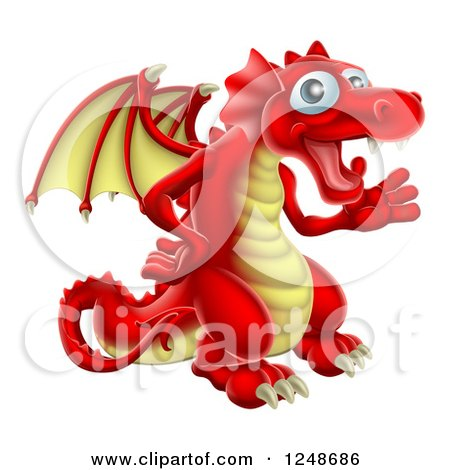 Clipart of a Friendly Waving Red and Yellow Dragon - Royalty Free Vector Illustration by AtStockIllustration